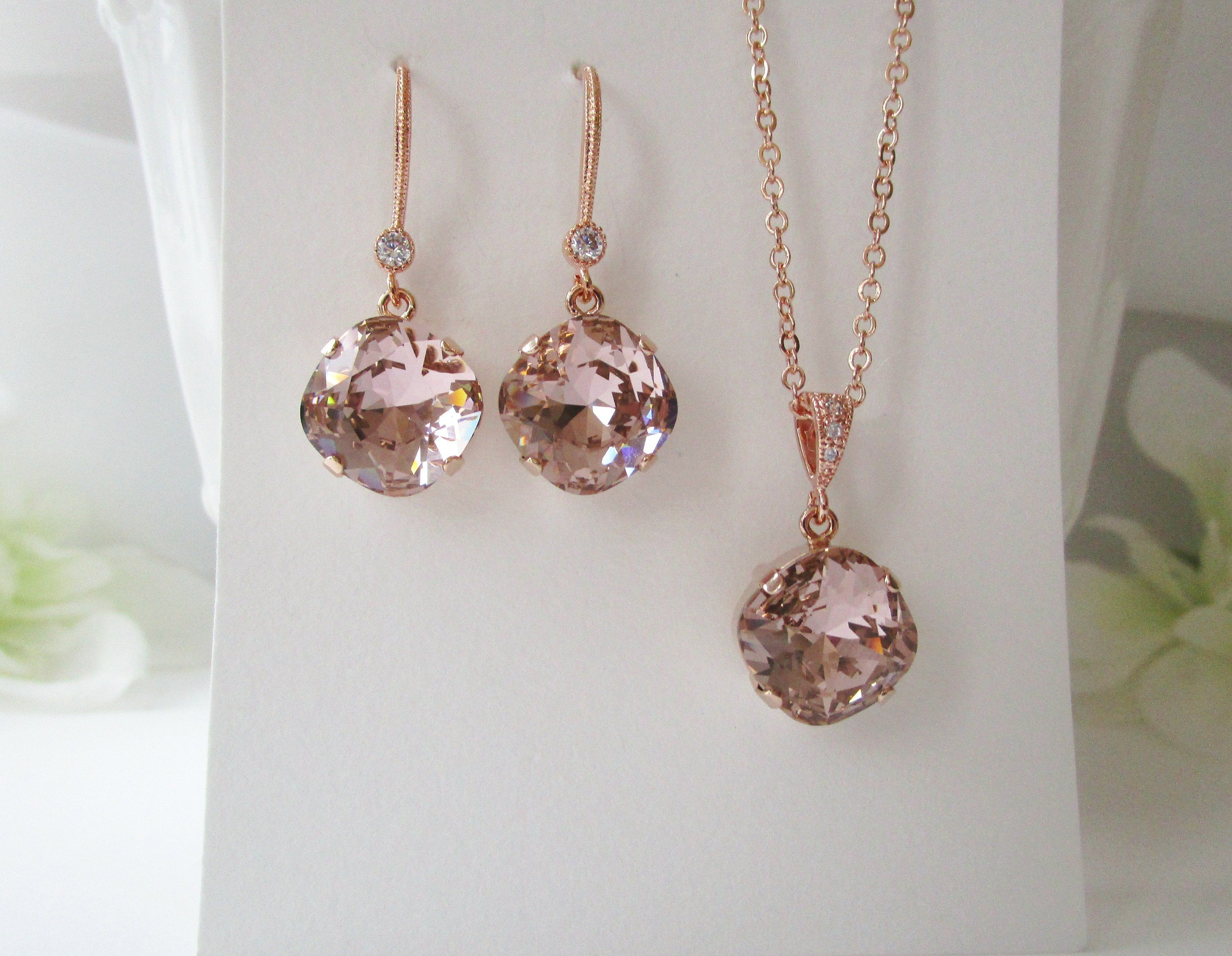 Rose gold bridal jewelry bridal necklace bridal earrings