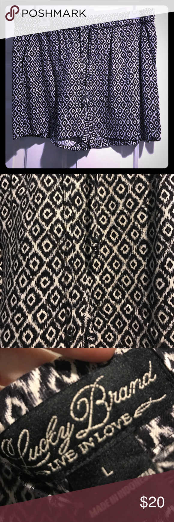 Lucky Brand Drawstring Shorts NWOT Lucky Brand Drawstring Shorts with black and white geometrical pattern // Sz Large // Perfect condition // False Pocket Lucky Brand Shorts