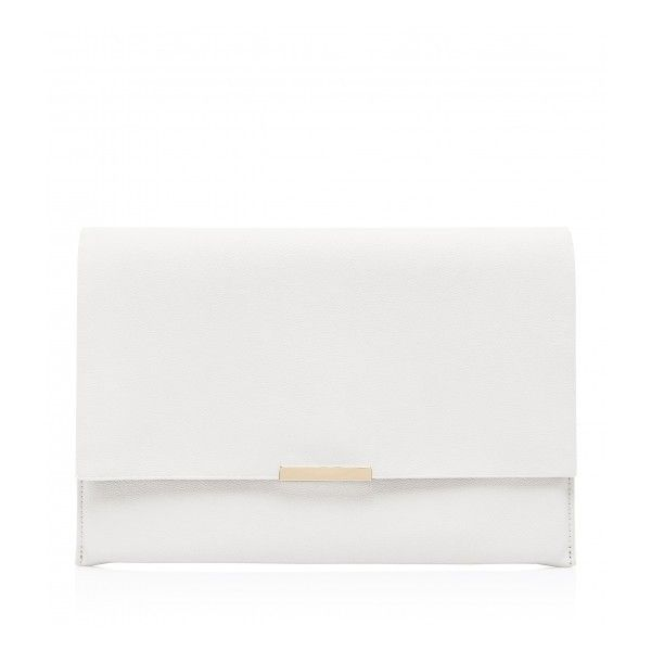 Forever New Jules Oversized Clutch Bag (550 MXN) ❤ liked on Polyvore featuring bags, handbags, clutches, white handbags, oversized handbag, white purse, white clutches and oversized purse