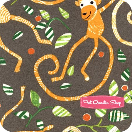 Flannel Play Date Charcoal Monkeys Yardage SKU# STELLA-F65-CHARCOAL - Fat Quarter Shop