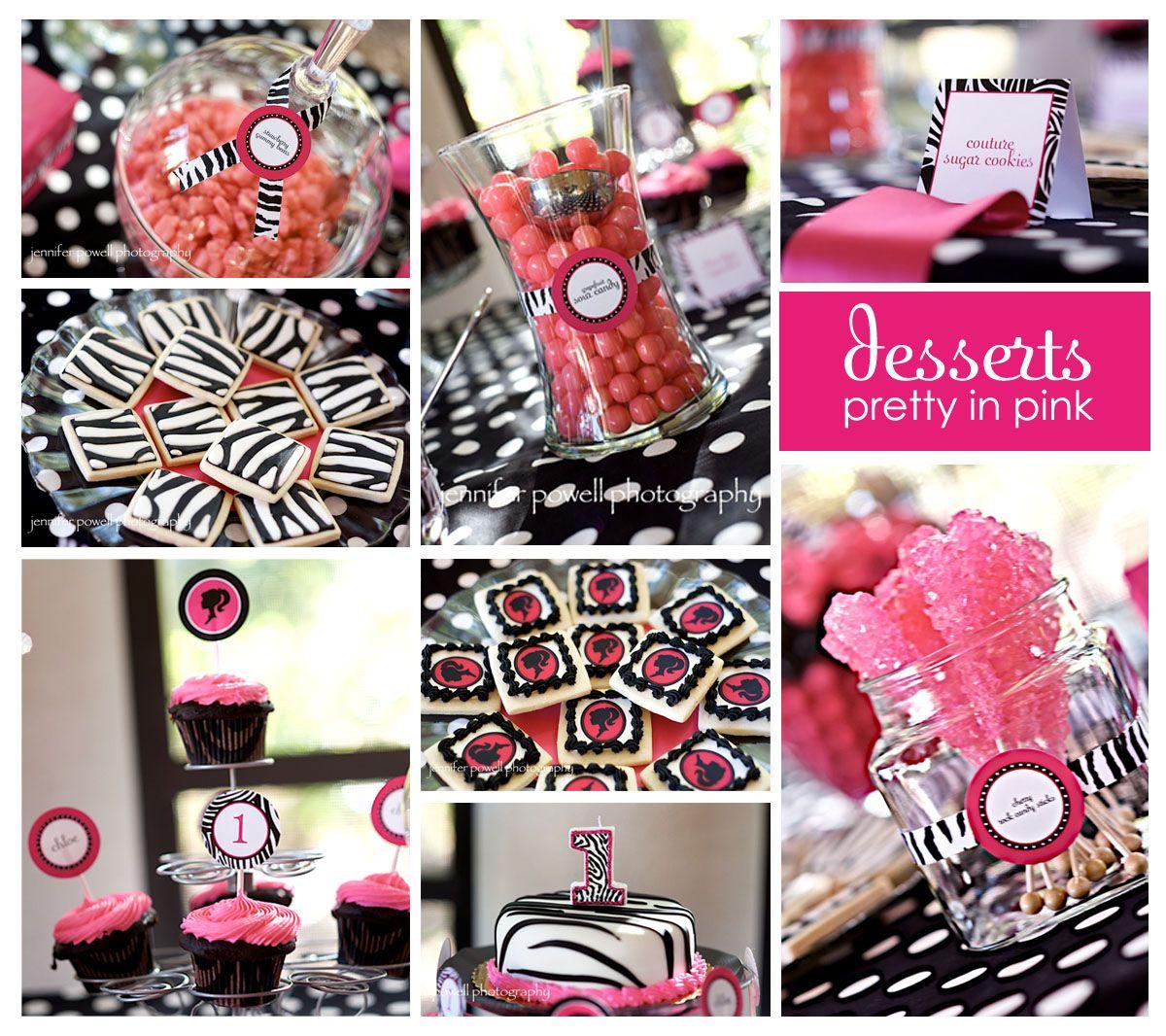 Barbie Zebra Theme 1st And 5th Birthday: Desserts-large.jpg 1,200×1,066 Pixels