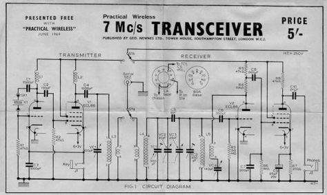 Projeto Transceiver 7 Mc / s de junho 1964 sem fio Prático