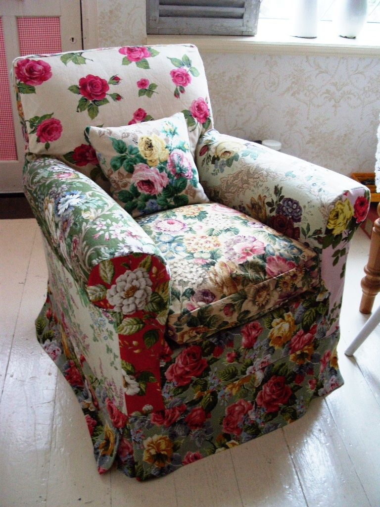 an arm chair slip cover for a client Cottage style