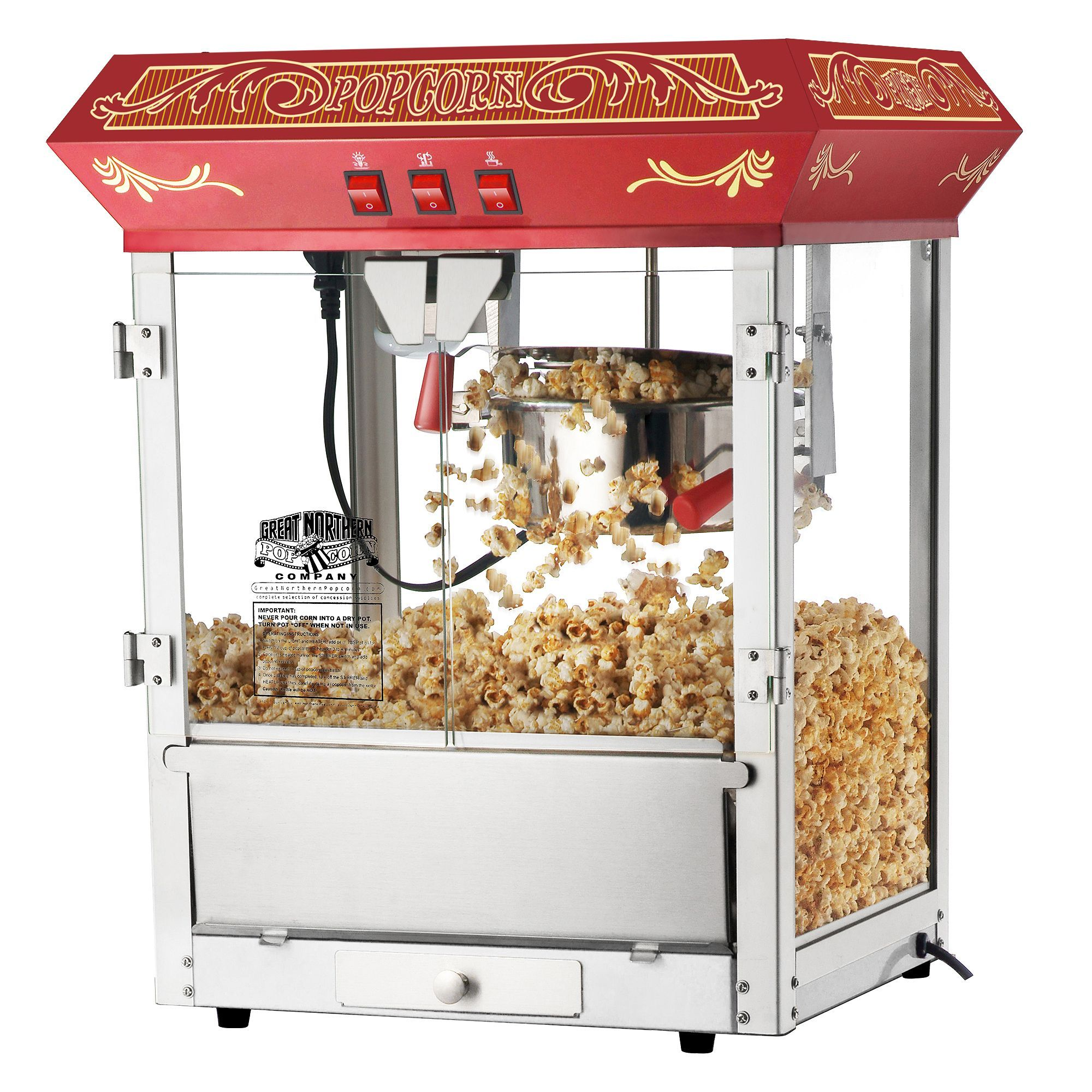 Great Northern Popcorn Red 8 Ounce Old Time Popcorn Popper Machine