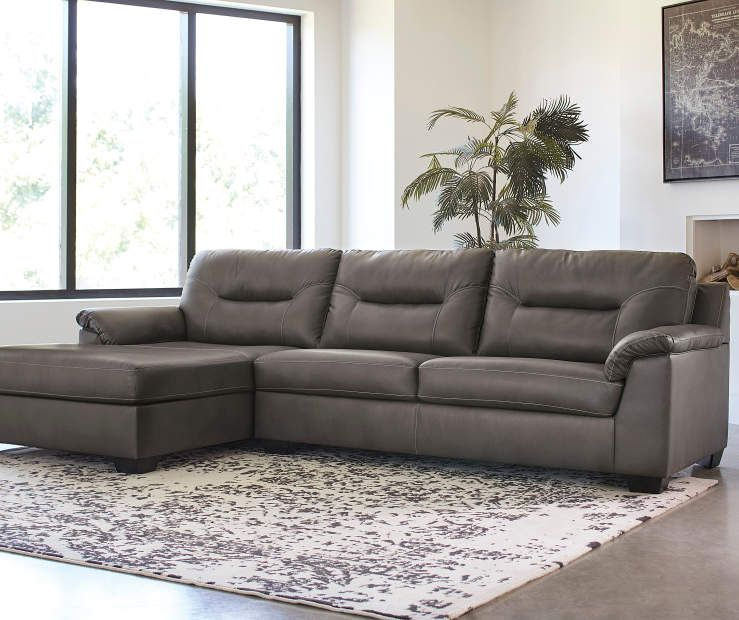 Signature Design By Ashley Carrillo Gray Faux Leather Living Room Sectional Living Room Leather Leather Couches Living Room Living Room Sectional