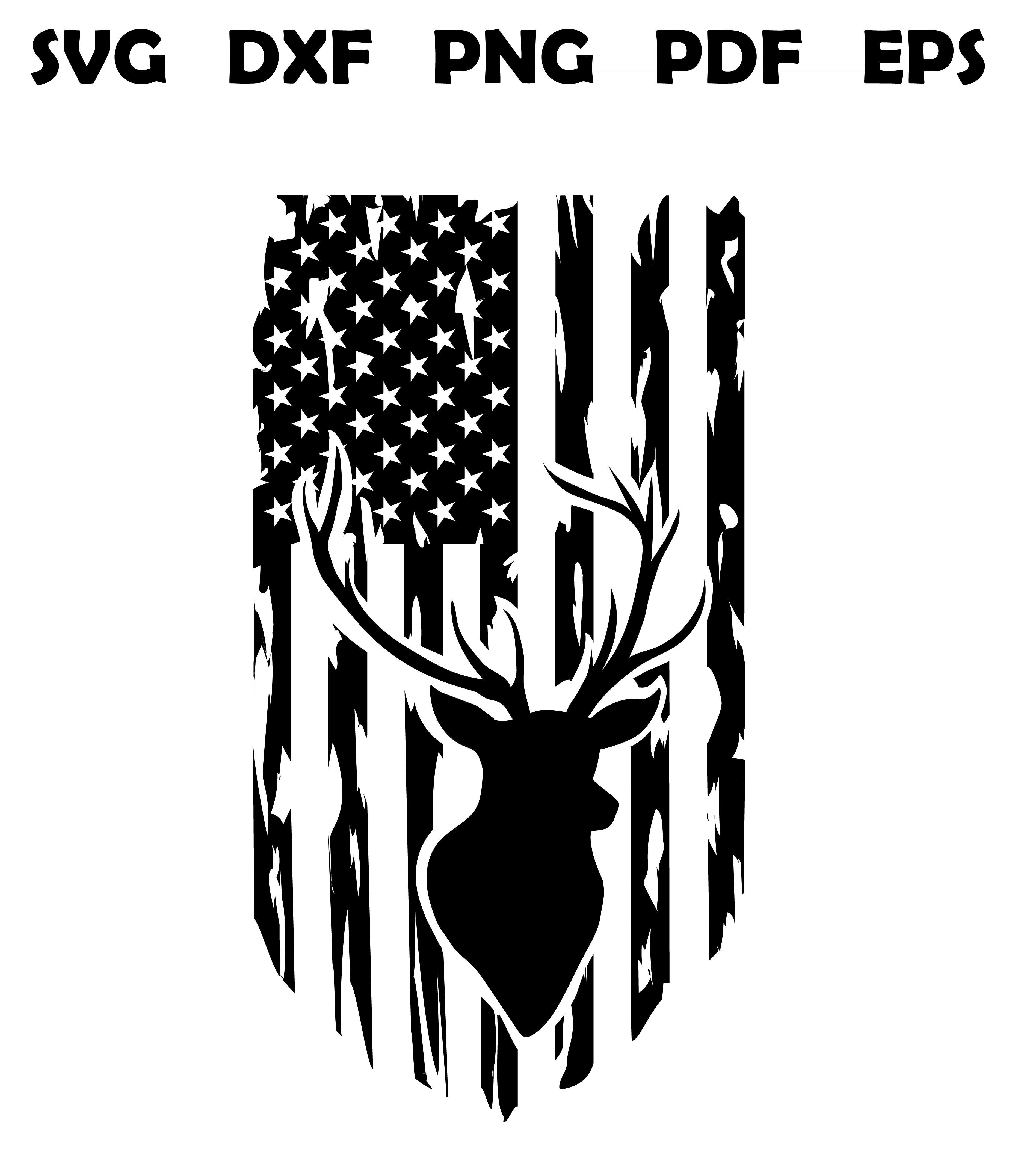 Distressed American Flag svg, hunting svg, deer svg, clip