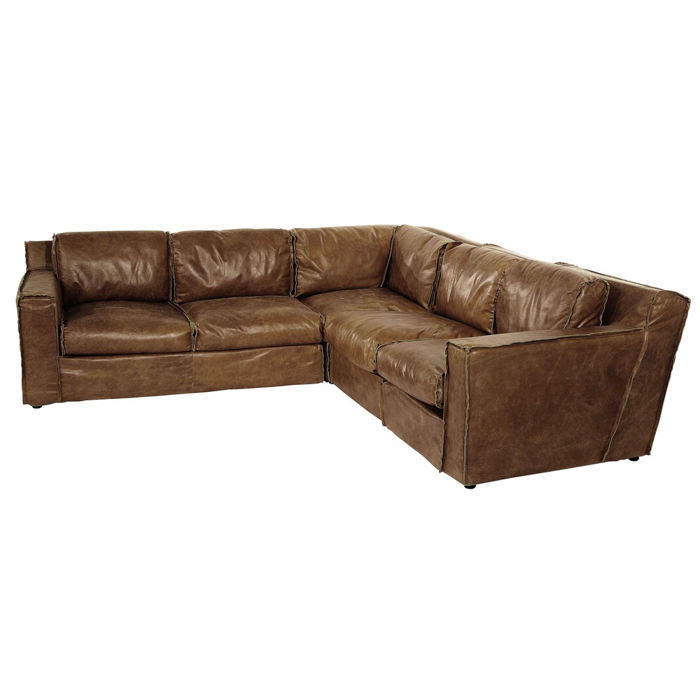 4 Seater Leather Vintage Corner Sofa In Brandy Colour Canape Angle Canape D Angle Cuir Canape