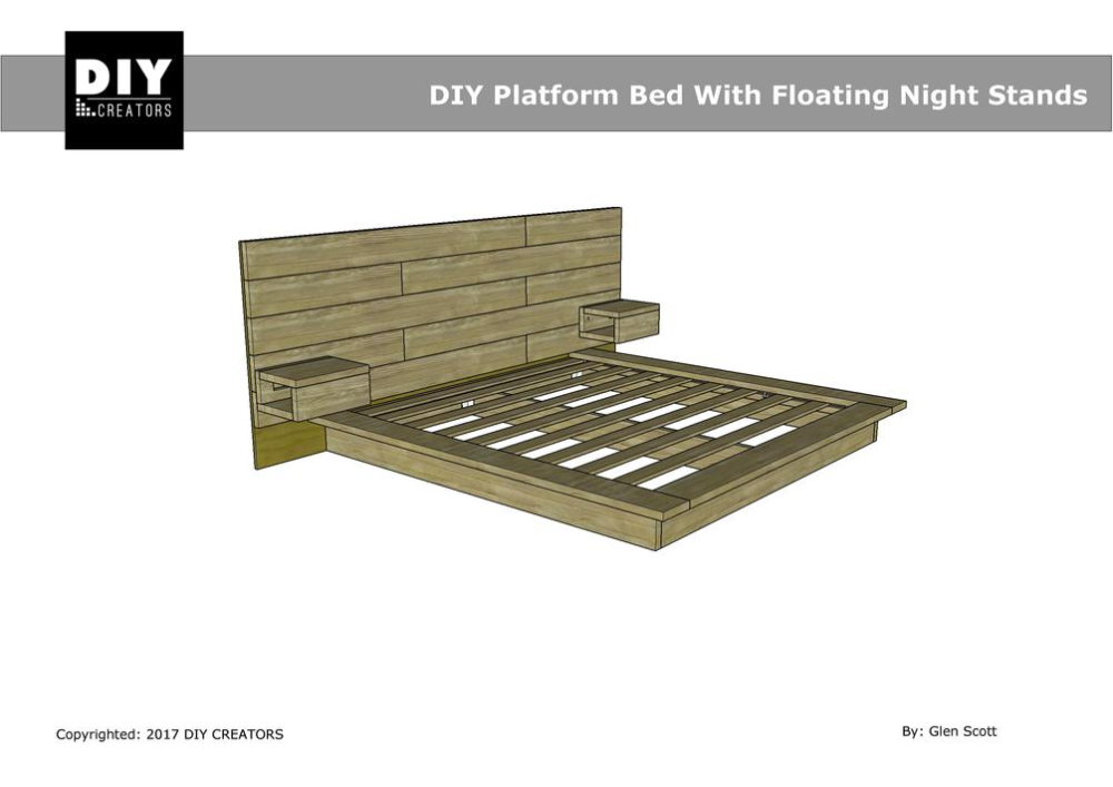 King Diy Platform Bed With Floating Night Stands In 2020 Diy Platform Bed Diy King Bed Diy King Bed Frame