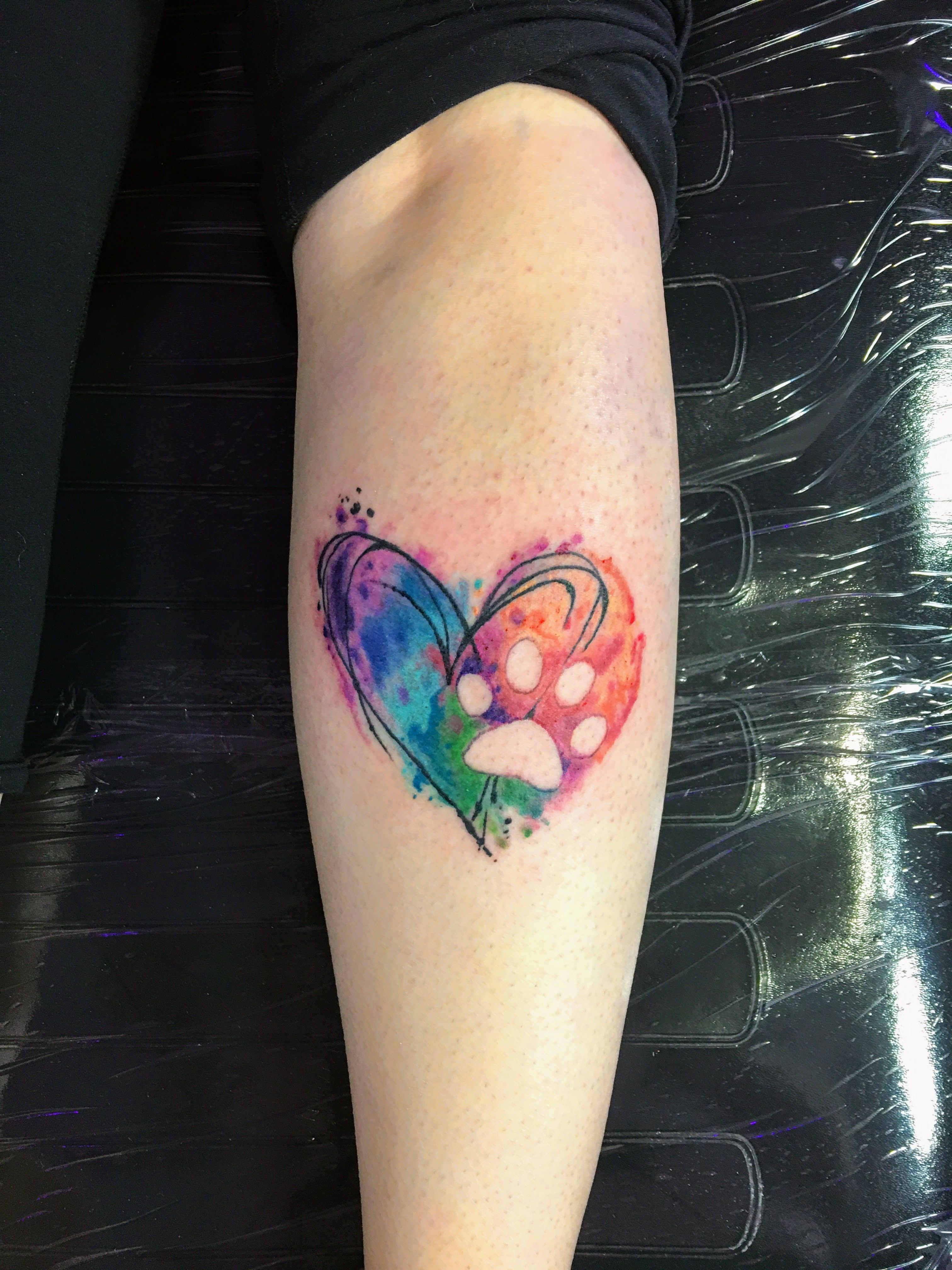 Heart Paw Print Watercolor Tattoo Forearmtattoos Watercolor