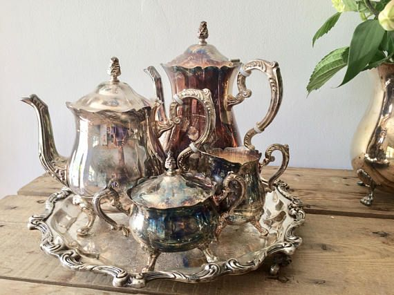 Vintage Leonard Silver Plate Tea & Coffee Service Set with Tea Pot ...