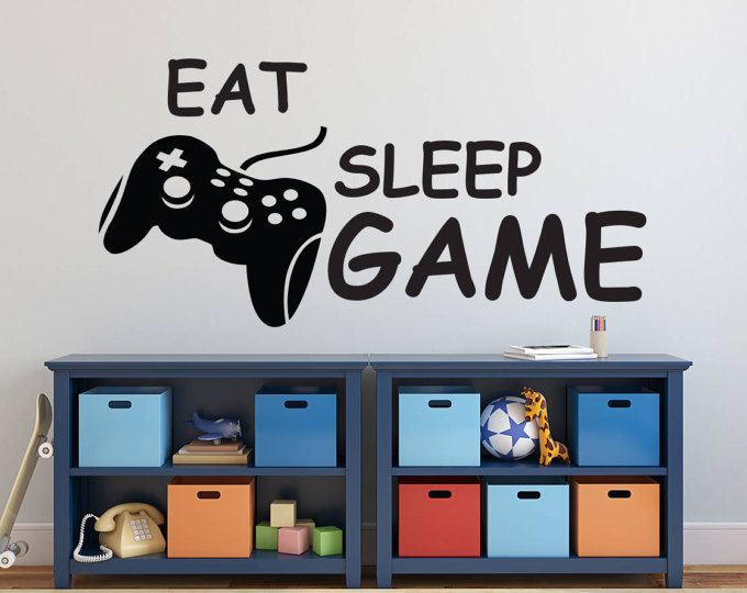 Eat Sleep Game Wall Decal   Video Gamer Wall Decal   Controllers Gaming  Video Game Wall