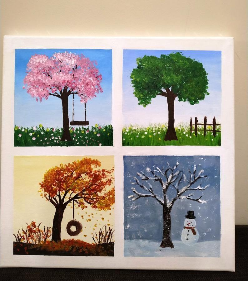 Four seasons wall decor, Hand painted acrylic art,