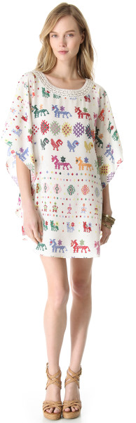 Carolina K Crochet Detailed Dress in Multicolor - Lyst