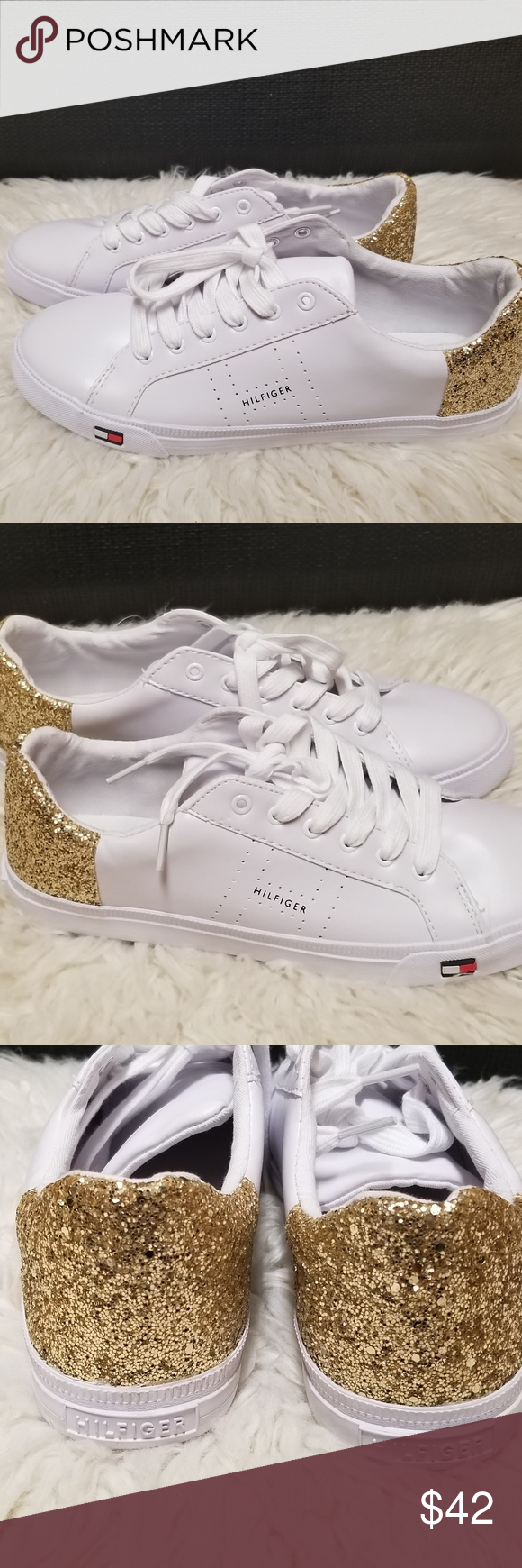 9e4c68850 Tommy Hilfiger Women s Lune Sneaker White Gold Tommy Hilfiger Women s TW Lune  Sneaker White Gold Size 10 Brand new! His a minor scratch (unnoticeable) ...