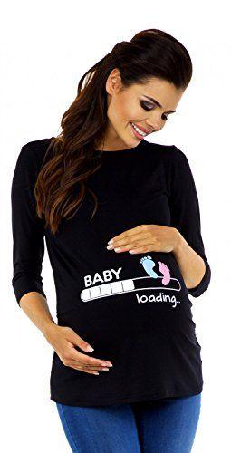 0477bcbb3dd Zeta Ville Maternité - Tee Shirt de Grossesse Motif Humour imprimé - Femme  549c (Noir EU 38 40)