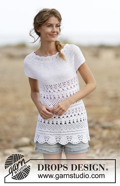 Lacey Days Top By DROPS Design - Free Crochet Pattern - (ravelry ...