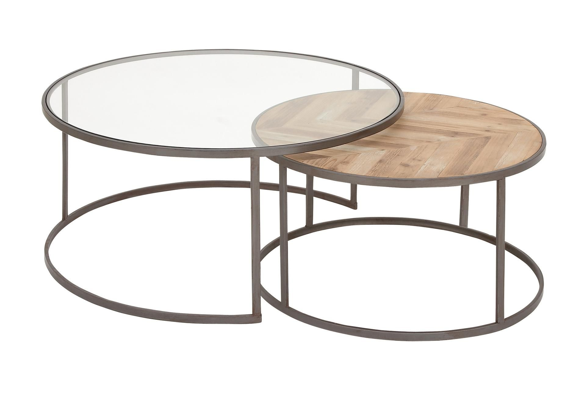 2 Piece Glass And Wood Nesting Coffee Table In 2020 Nesting Coffee Tables Round Nesting Coffee Tables Round Coffee Table Sets