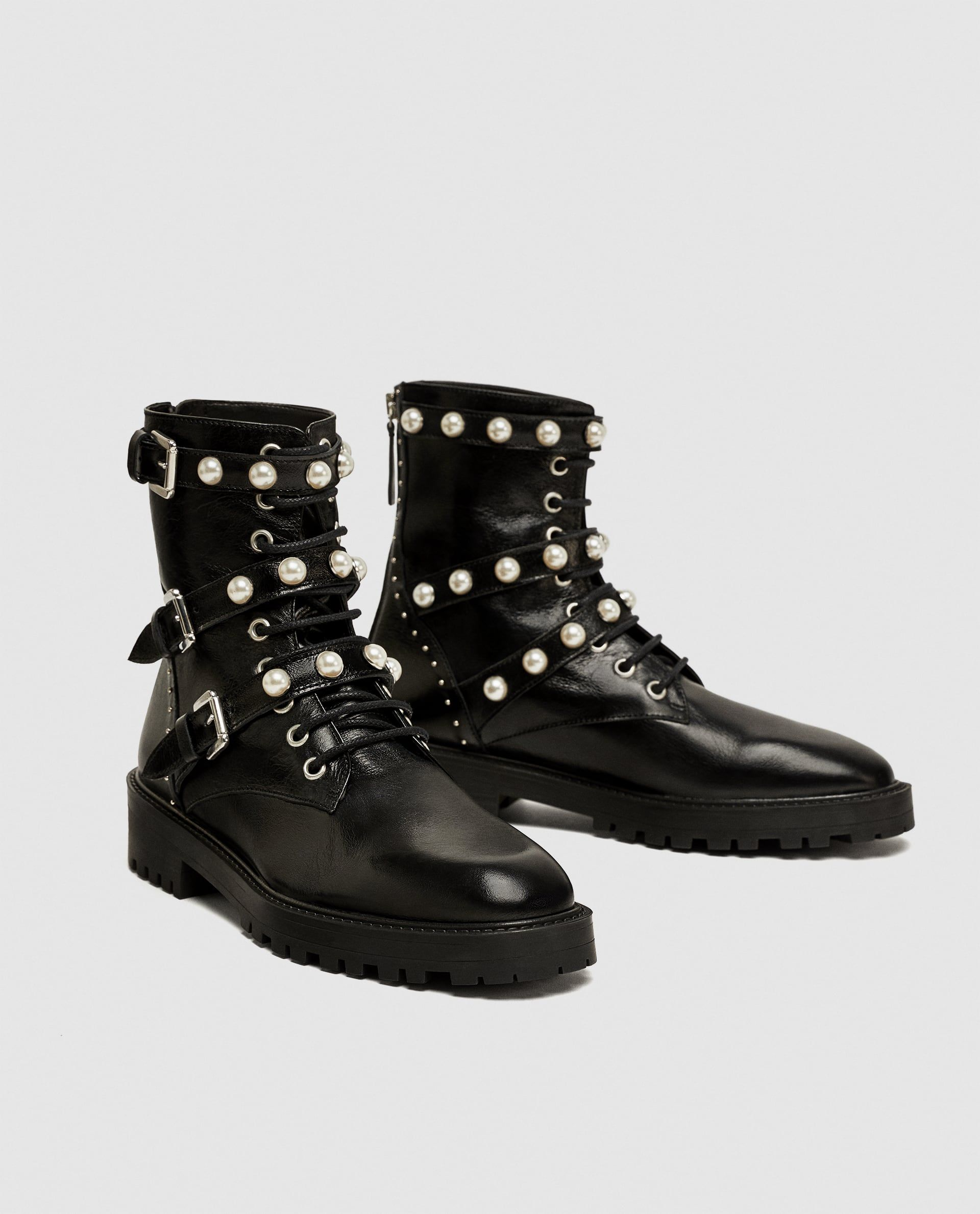 95773b0eb09 Image 4 of LEATHER ANKLE BOOTS WITH FAUX PEARLS from Zara Leather Ankle  Boots, Zara