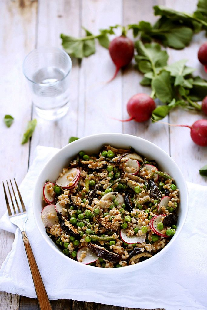 Spring Farro Salad with Roasted Garlic Vinaigrette