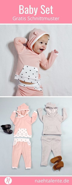 Coudre un sweat à capuche bébé avec un pantalon de survêtement Freebook | Talent de couture   – Jersey nähen – Baby