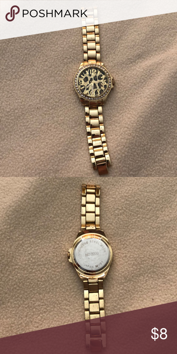 A Gold Stainless Steel Back Watch Gold Watch Gold Watches