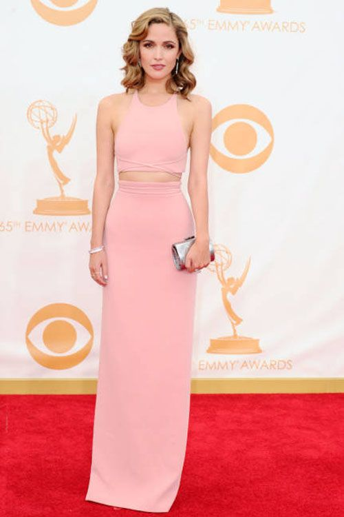 0a3897d8e80c5 Rose Byrne red carpet dress in Emmy Awards. Jewel neckline, sleeveless; Pink  two-piece sheath long evening dress.