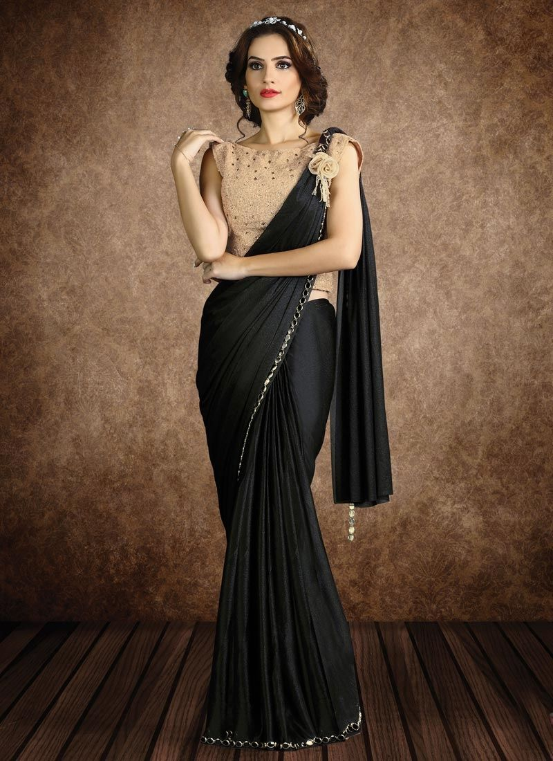 Sparkling black lace work fancy fabric classic designer saree