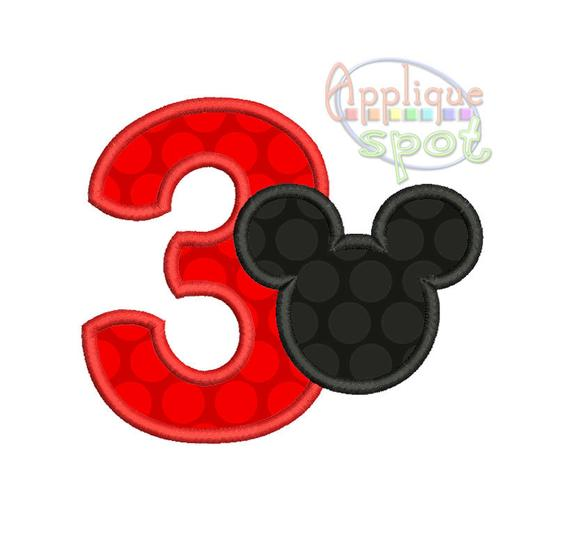 Mickey Silhouette Third 3rd Birthday 3