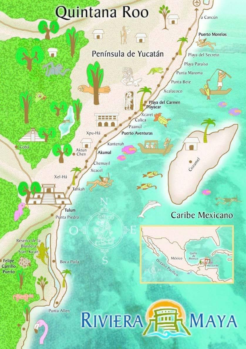Map Mappa Riviera Maya Quintana Roo Rivera Maya Mexico Quintana
