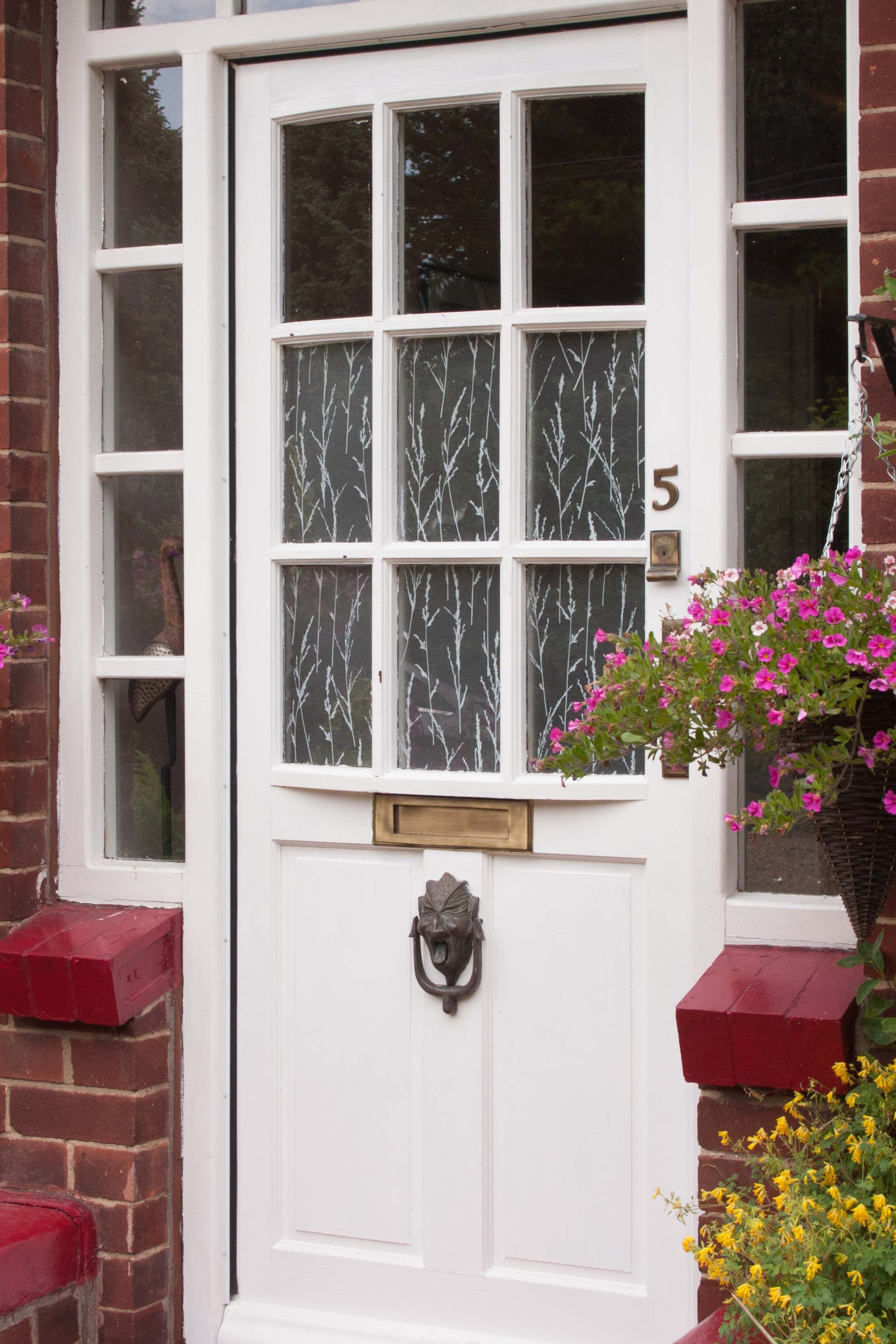 We Love The Effect Of This Window Film On The Front Door Which Adds Decor And Privacy For A Fraction Of The Cost Of New Glas Door Design Window Film Front