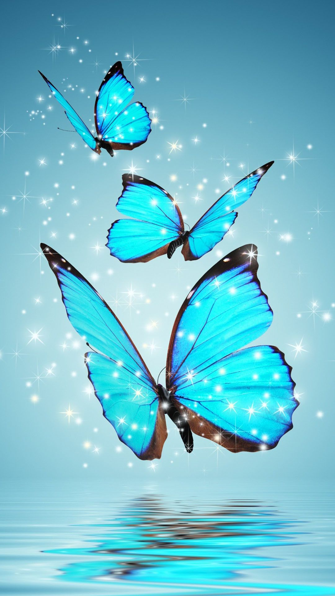 Blue Sparkling Butterflies Android Wallpaper Download 1080x1920 In 2020 Butterfly Wallpaper Blue Butterfly Wallpaper Butterfly Background