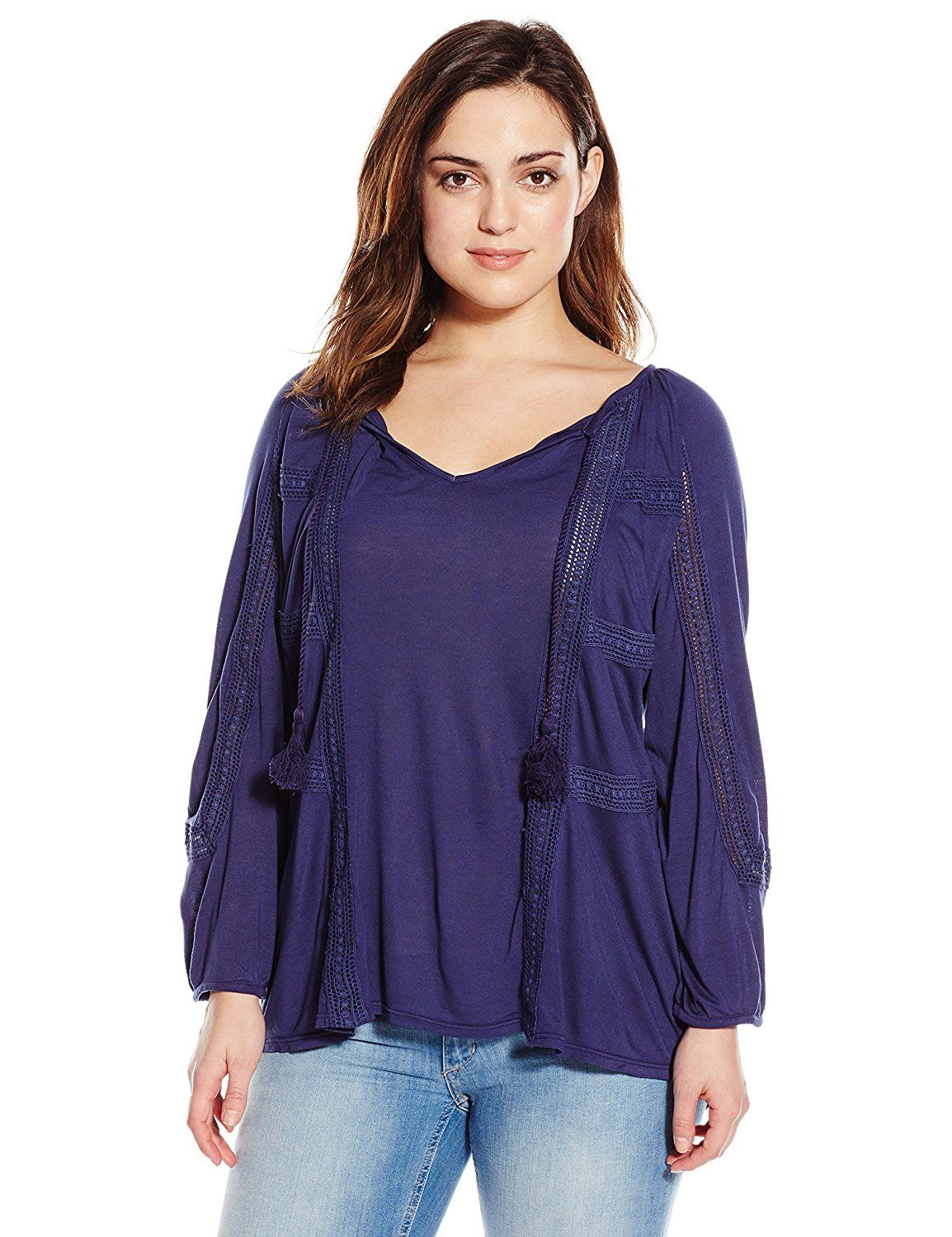 eb21c939b5d4d Lucky Brand Women s Plus-Size Lace Mixed Peasant Top   Review more details  here   Plus size shirts