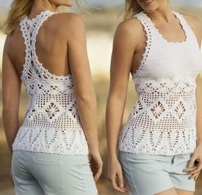 Hermosa polera o top veraniego tejido a crochet talla S polera tejida a crochet hermosa OjoconelArte.cl |