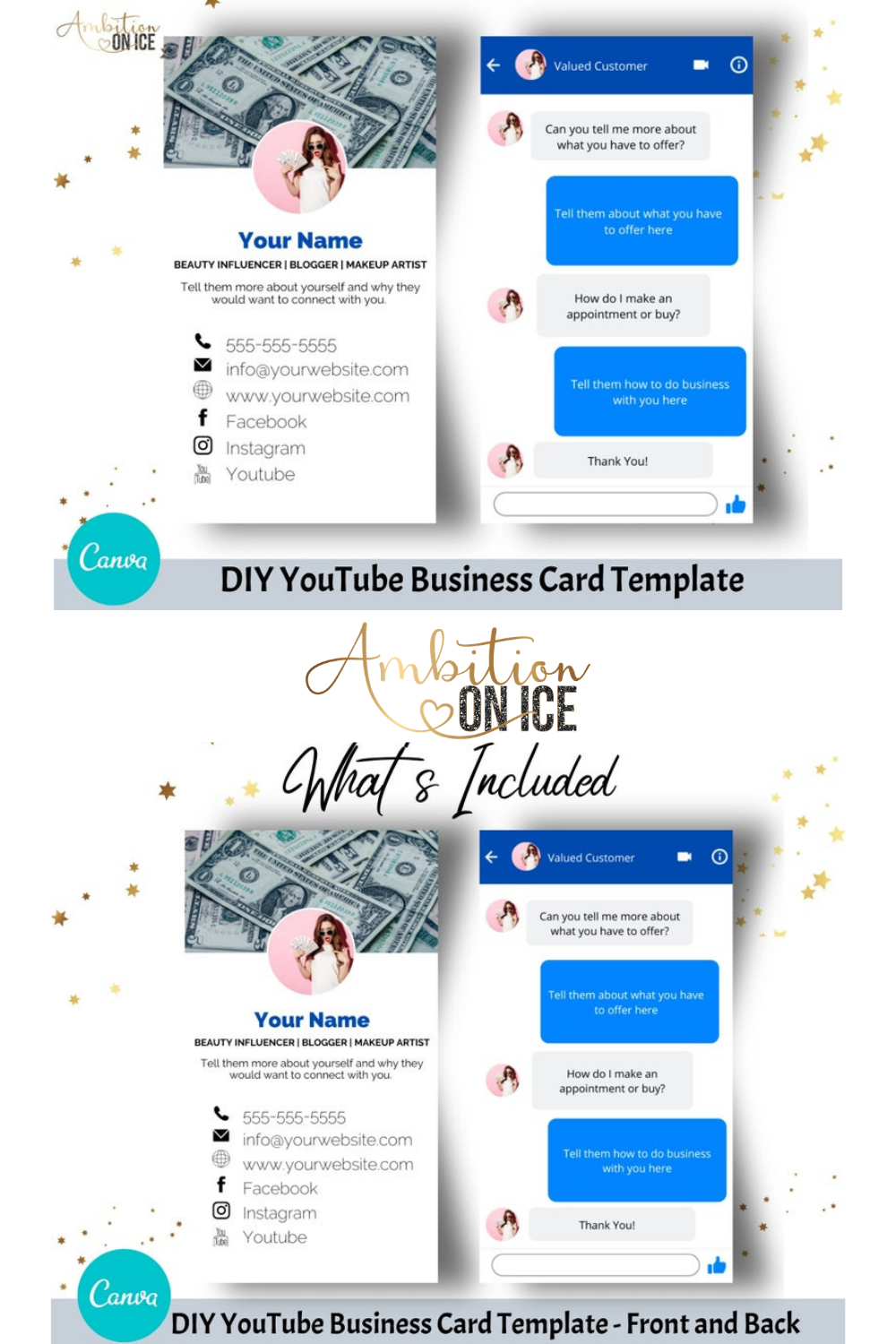 Diy Facebook Profile Business Cards Canva Template Business Card Design Messenger Chat Front Back Designs Included Instant Access Business Card Design Card Design Diy Branding