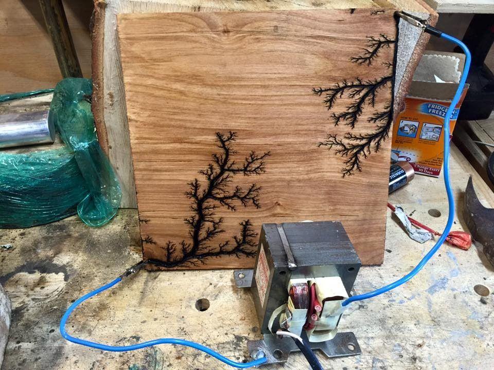 Woodburning With Lightning Making Lichtenberg Figures Wood Burning Art Wood Crafts Lichtenberg Figures