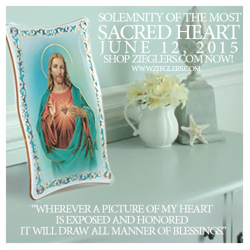 "The solemnity of the most Sacred Heart of Jesus is ready to be celebrated and what better way than an image of art of the Sacred Heart of Jesus to go in your home? After all Christ told St. Margaret Mary""Wherever a picture of my heart is exposed and honored it will draw all manner of blessings!"" Shop gifts for the most Sacred Heart of Jesus today at ZIEGLERS.COM  #sacredheart"