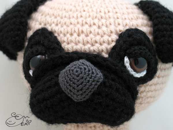 Free Crochet Pug Rug Pattern : Sleepy-eyed pug amigurumi pattern by Emi Kanesada (Enna ...