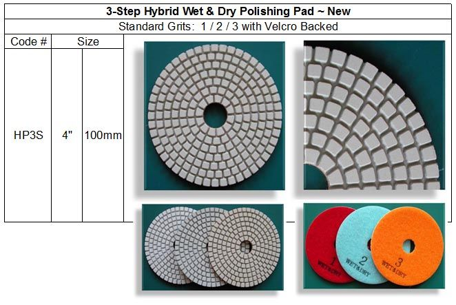 4/'/'  Diamond 5 steps dry polishing pads for granite marble stone grit #1,2,3,4,5