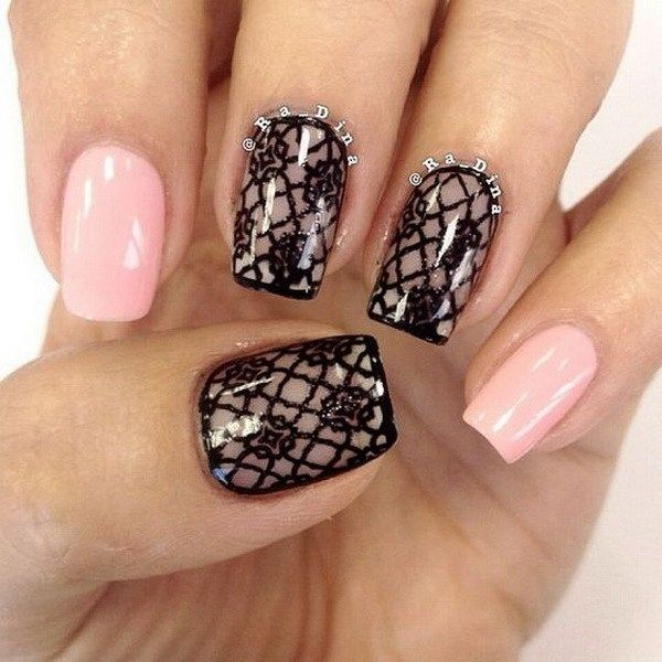 Black lace nail design. - 20 Romantic Lace Nail Designs Lace Nail Design, Lace Nails And