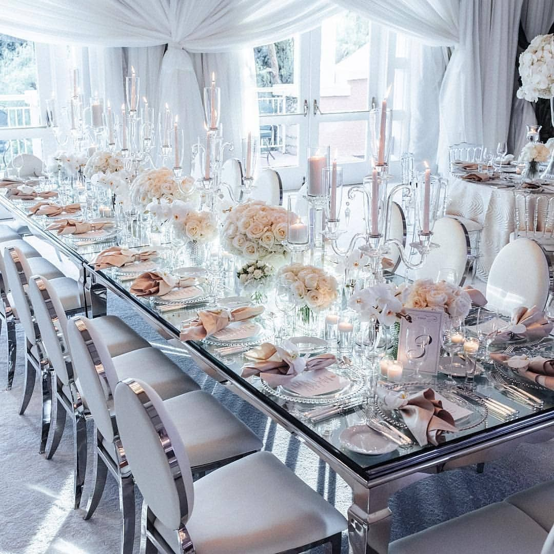 Who S Up For Mirrored Table And Elegant White Adornments For Their Wedding Tablescape We Could Mirrored Table Decor Wedding Table Settings Wedding Tablescapes