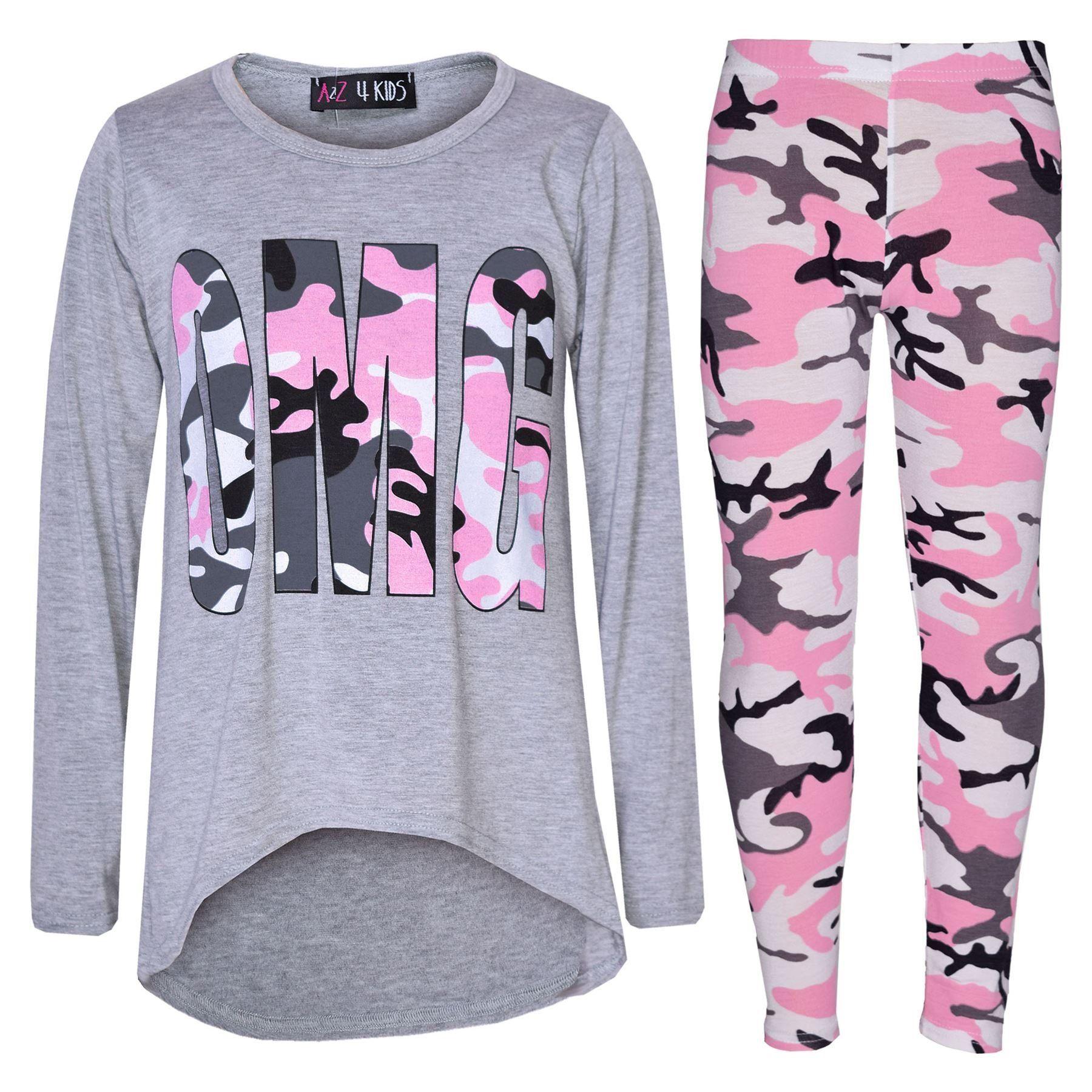 7e3ecdccaf0b Girls Top Kids Designer's OMG Camouflage Print Shirt Tops & Legging Set  7-13 Yr
