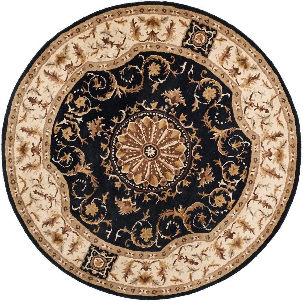 Safavieh Empire Black Ivory 6 Ft X 6 Ft Round Area Rug Area