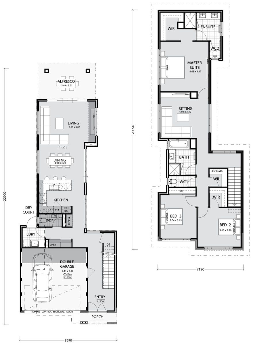Beaufort Key Features Takes Advantage Of A Narrow Block Gourmet Kitchen With Breakfast Bar Narrow House Plans Narrow Lot House Plans House Plans Australia