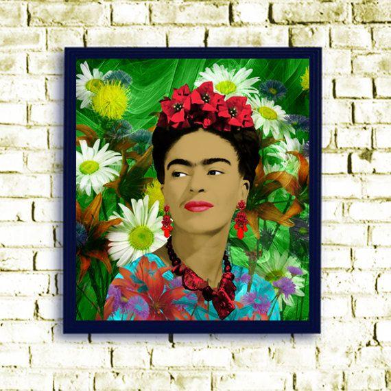 affiche pop art de frida kahlo impression peinture. Black Bedroom Furniture Sets. Home Design Ideas