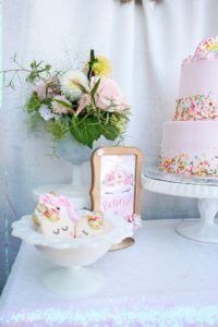 Karas Party Ideas Cake Table Detail From A Magical Unicorn Birthday Via