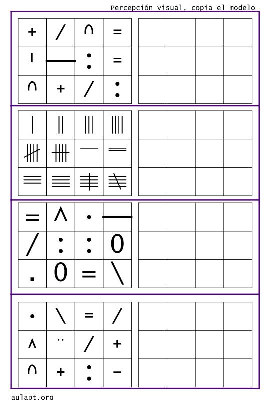 Esta tarea es ideal para trabajar la percepción visual, copia de ...