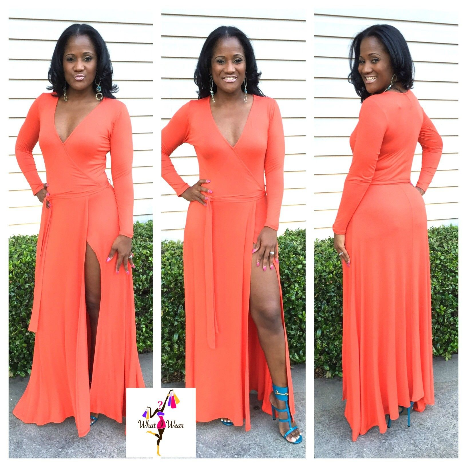Orange wrapped long sleeved high slit maxi dress sexy maxis