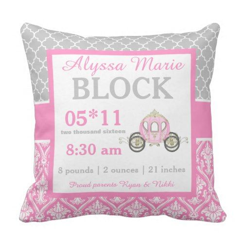 Grey Pink Princess Child Announcement Pillow. ** See more by visiting the picture link