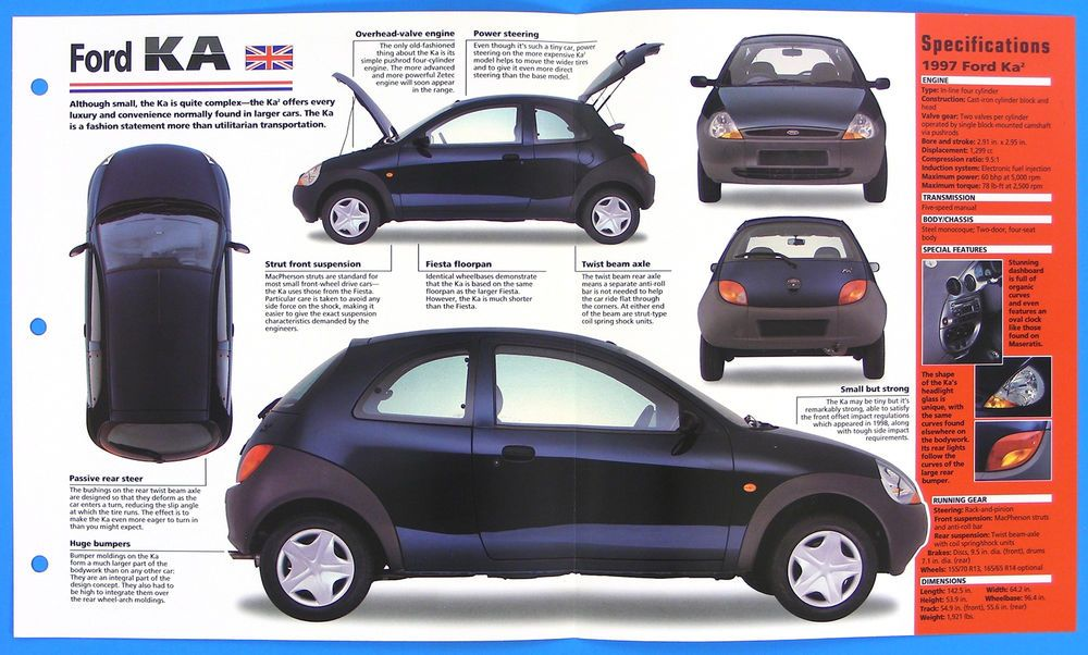 Details About Ford Ka Uk 1996 1998 Spec Sheet Brochure Poster Imp Hot Cars Group 1 24 Carros Carros Antigos Brasileiros Kart