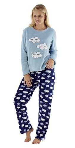 f7e0dcf160ce4 Ladies Blue Snow Clouds   Stars Plush Fleece Pyjamas in 2019 ...